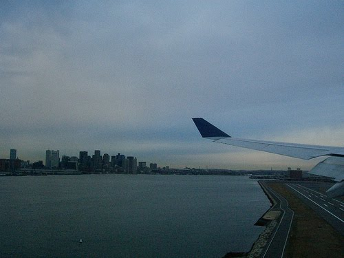 Landing at Boston Logan Airport.