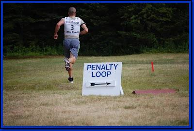 Running a penalty loop at a summer biathlon