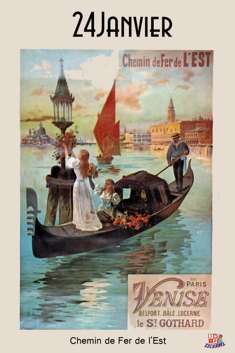 """Imagerie du Chemin de Fer: Carte Postale publicitaire - """"Chemin de fer de l'Est"""" Venise"""
