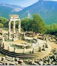 "Delphi, the centre of the Ancient world - the ""Omphalos"" (Navel) of the Earth."