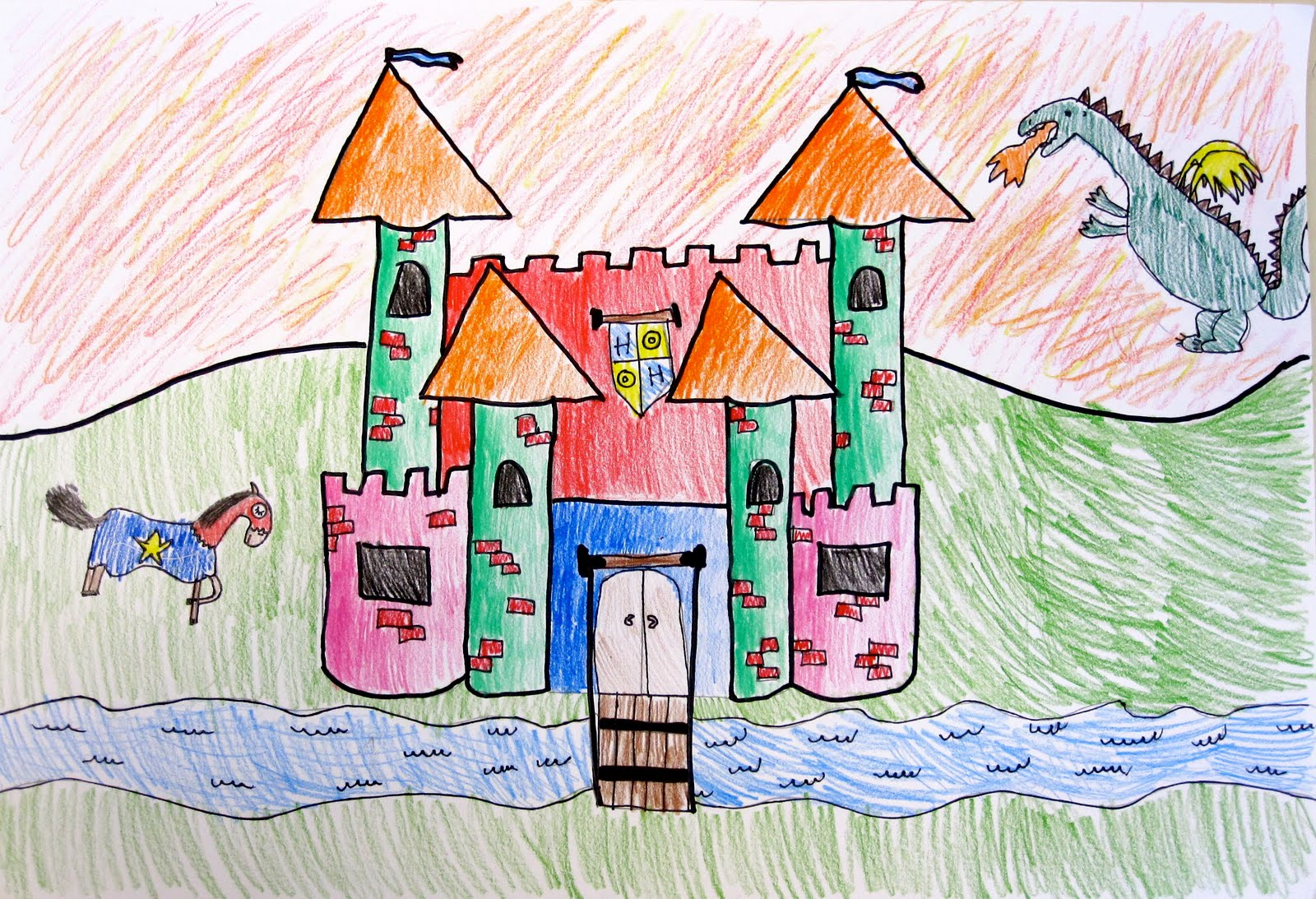 students used colored pencils to complete their drawing creating a light source by shading their castle from light to dark - Castles Pictures To Colour