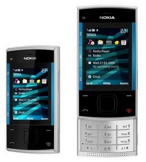 Nokia X3 Slider Phone Silver Blue