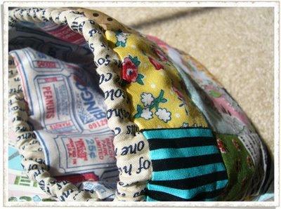 Pink Penguin: Reversible Patchwork Drawstring Bag