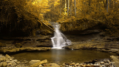 Autumn Season Little Waterfall HD Wallpaper