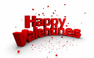 Happy Valentines Day 3D Text and Little Hearts HD Wallpaper