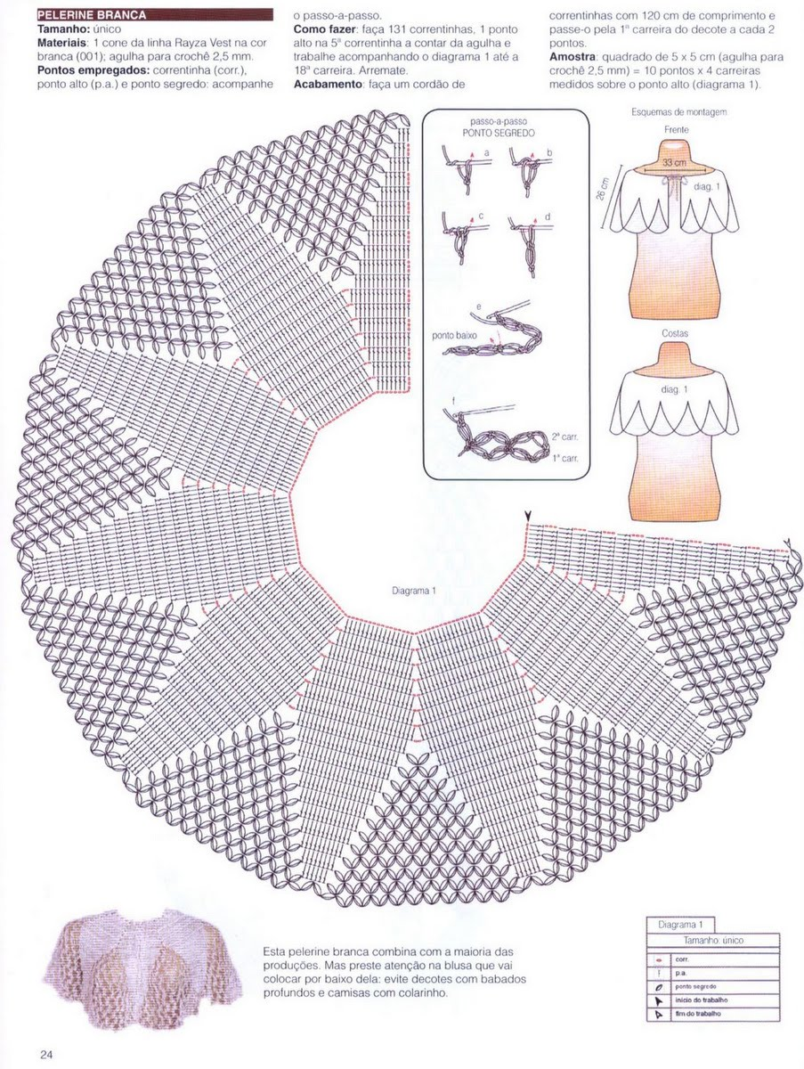 Схема вязания крючком накидки на плечи 1