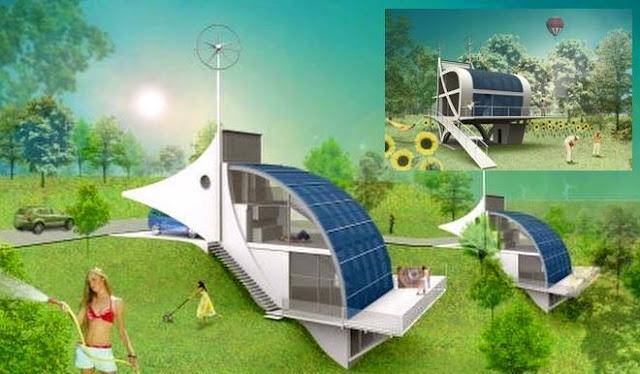 Arquitectura de casas casa futurista con energ a solar e for Casas futuristas