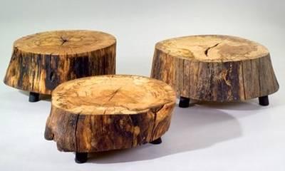 Arquitectura de casas mesas r sticas con troncos for Mesas de troncos de arboles