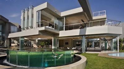 Perspectiva de un sector exterior de la casa