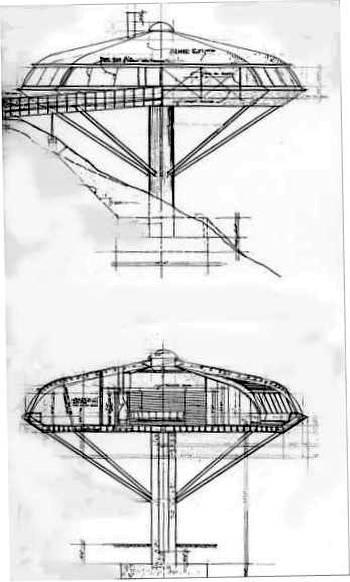 Dibujos de dos planos de la Residencia Malin en California