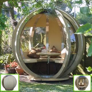Refugio de jardín con forma esférica