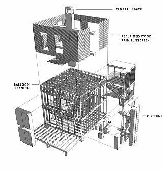 Dibujo arquitectónico del proyecto de la casa de madera de bajo costo