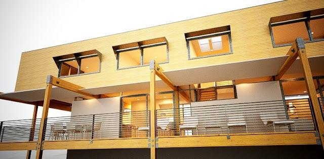 Imagen en perspectiva de renderizado de proyecto de casas prefabricada de madera