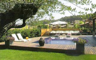 Jardín marco del deck y la piscina