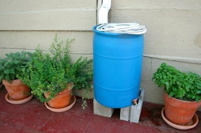 Barril plástico para acumular agua de lluvia