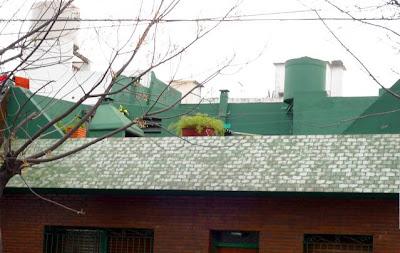 Terraza pintada de verde