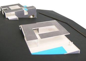 Perspectiva de casas mellizas, proyecto para Lanzarote, Islas Canarias