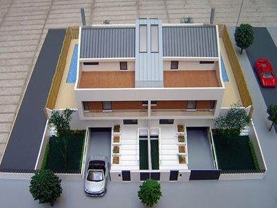 Vista aérea de una maqueta arquitectónica de casas adosadas