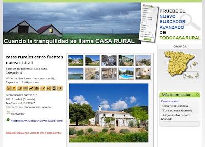 Sitio web donde se ofrecen casas rurales en España