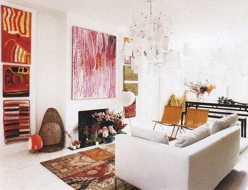 Decoración, luz natural, color, en apartamento moderno