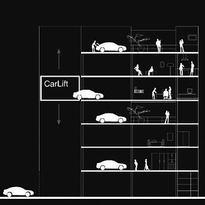 Plano de corte del edificio con el elevador de automóviles