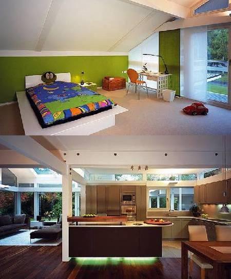 Dormitorio infantil e imagen de la cocina de la casa