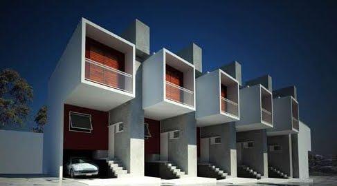 Perspectiva de un complejo de viviendas populares adosadas en Brasil