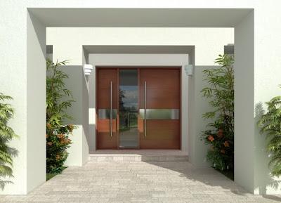Puerta de acceso a residencia estilo Contemporáneo norteamericana