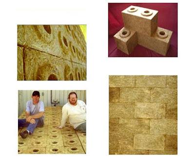Detalles de los fardos compactados con forma de bloques perforados