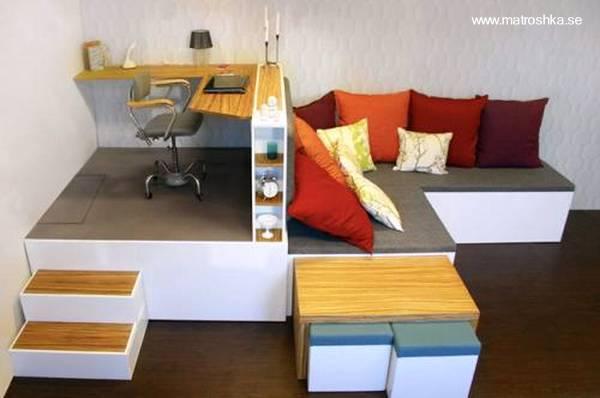 Vista superior del mueble hogareño multifunción para espacios