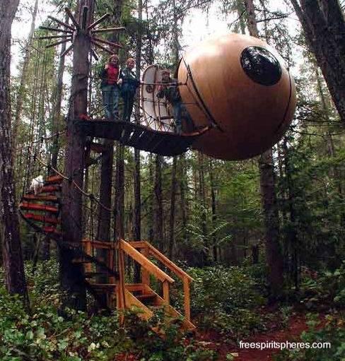 cabina esfrica de madera colgando entre rboles