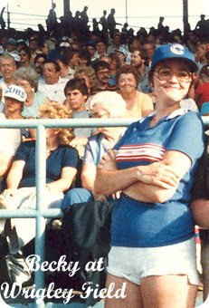 Becky, kickin it old school at Wrigley Field