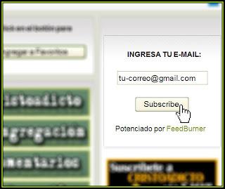 Apuntar e-mail y hacer click en el botón
