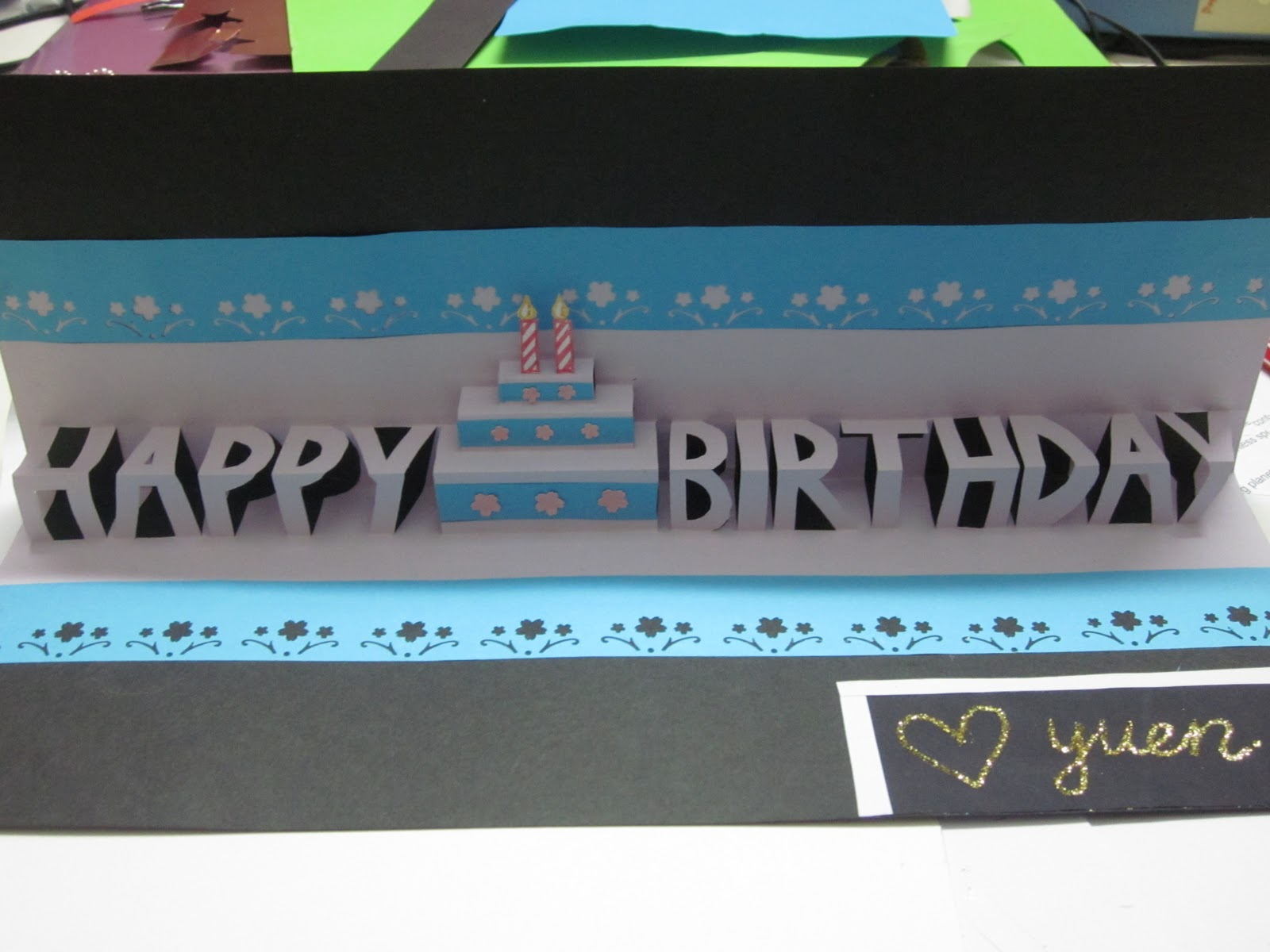 yuenie's fancies  handmade quilled pop up cards, bookmarks, gifts, Birthday card