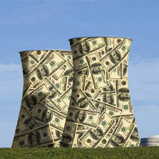 Nuke cooling towers depicted as made out of money