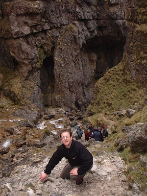 Climbing up Gordale Scar on my first adventure in the Dales