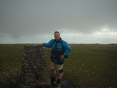 On the top of Ingleborough - the last summit on the Yorkshire Three Peaks Challenge