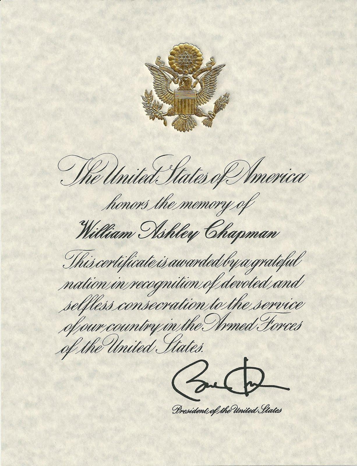 Robin Chapman News The Mysterious Presidential Citation