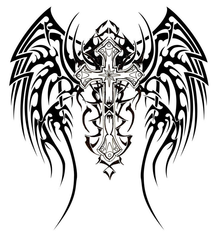 tattoo on back wings. tribal wings cross