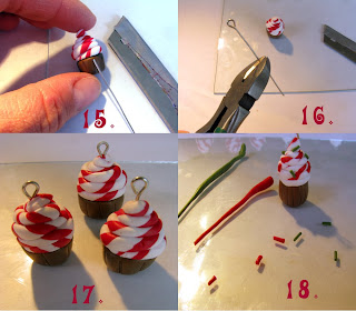 polymer clay cupcake tutorial - step 15 to 18