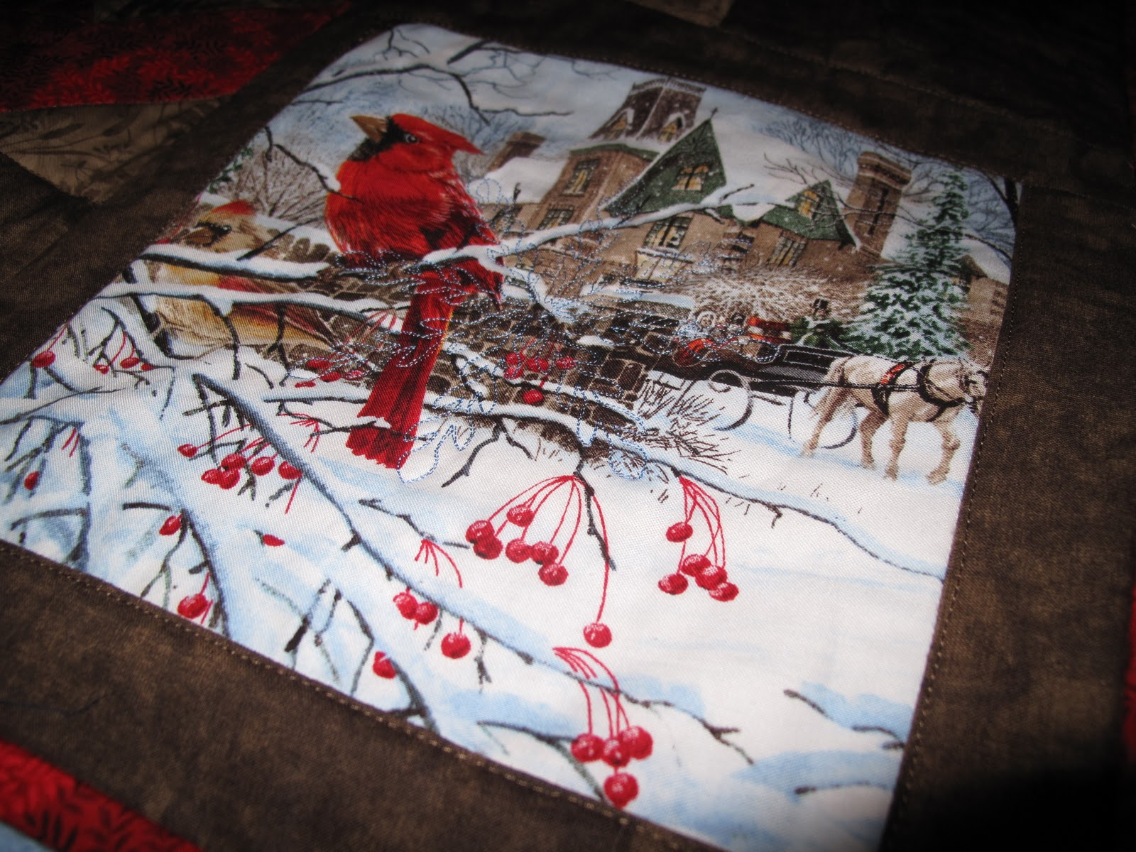 Quilter\u0027s Block Christmas Quilt from fabric panel