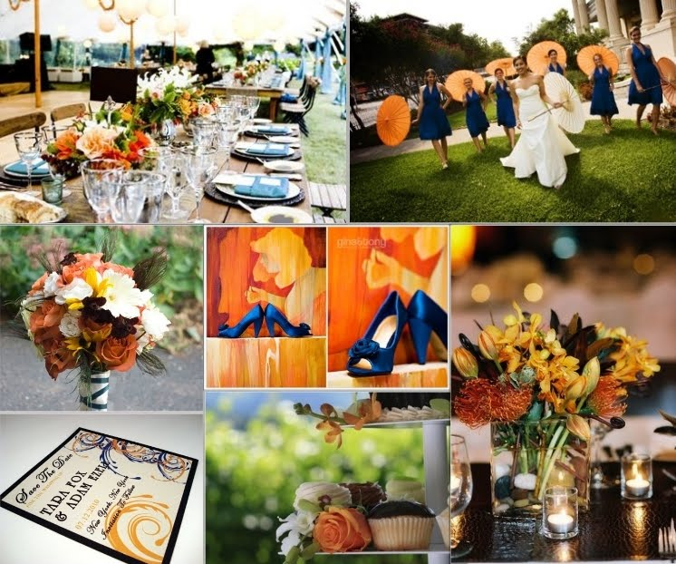 Loving this blue and orange colour scheme Perfect for Autumn weddings
