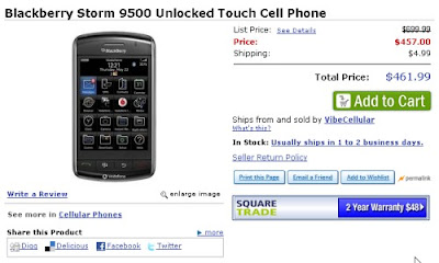 Price of Blackberry 9500 Storm