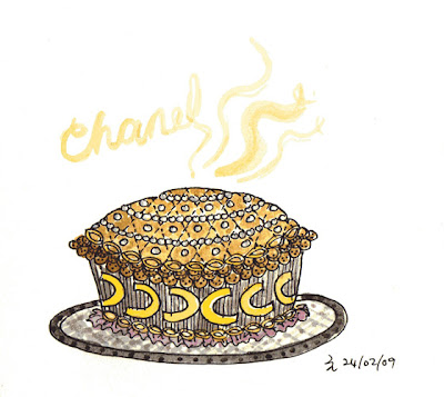 If Coco Chanel made a pie... :  chanel coco pie drawing