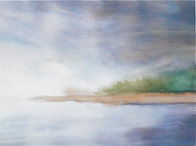 watercolor painting of mist on a lake