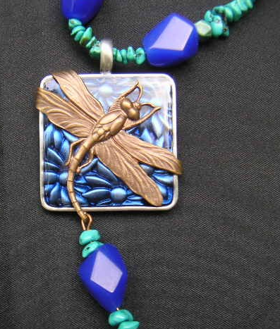 dragonfly on blue and green stone necklace