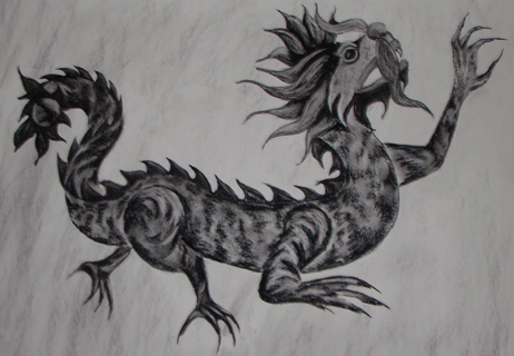 charcoal drawing of a dragon