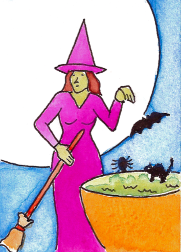 drawing of a witch and her cauldron