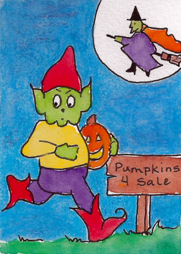 gnome stealing a pumpkin drawing