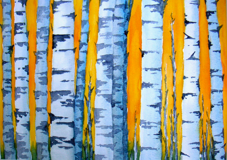 birch trees watercolor painting